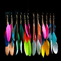 Women Girls Feather Long Tassel Drop Dangle Hook Earrings Ear Accessory Jewelry