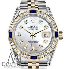 Rolex 26mm Datejust Watch White MOP Dial with Sapphire & Diamond Bezel Watch