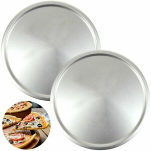 """2 LARGE 12"""" PIZZA TRAYS Long Lasting Steel Baking Dish Round Oven Pan Cook Grill"""