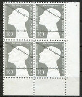 Bund 165 postfrisch Viererblock VB Eckrand Ecke 4 BRD 1953 Kriegsgefangene MNH