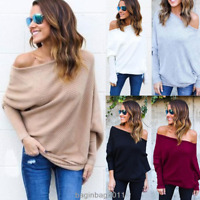 Womens Off Shoulder Chunky Knit Jumper Ladies Oversized Baggy Sweater Tops New