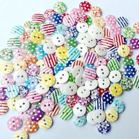 100PCS  Decoration Craft Flower Mixed Pattern 2 Holes 15mm Sewing Wood Buttons