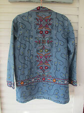 SALE DENIM & CO.Blue Denim FLORAL Embroidered Jacket Super NICE size Medium New