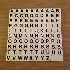 SCRABBLE TILES Black Letters With Numbers FULL SET 100 New Ivory FREE POST LT001