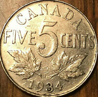 1934 CANADA 5 CENTS COIN - Good example!