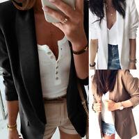 New Women OL Solid Long Sleeve Turn-down collar Blazer Jacket Suit Coat Cardi Gn