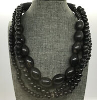 VTG Gerda Lynggaard Wood Horn Beaded 4 Strand Runway Statement Choker Necklace