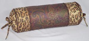 Pillow made w Ralph Lauren Bohemian Burgundy Paisley & Animal Leopard Fabric NEW