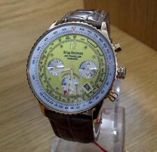 Mens Krug-Baumen Leather Air Traveller Diamond Pilots Chrono Watch 400219DS BNiB
