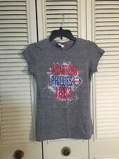 Philadelphia Phillies Gray T Shirt Campus Lifestyle MLB Baseball Womens Size M