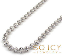 """24-30"""" 3mm 14k White Gold Moon Cut Italy Ball Bead Mens Ladies Chain Necklace"""