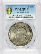 1901 Germany Prussia 200 Years 5 Five Mark Silver Coin - KM# 526 - PCGS MS 64+