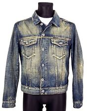 ENERGIE Mens Denim Jacket L Genuine Distressed Italy