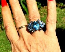 Victorian style Eleven Blue Topaz Cocktail Ring