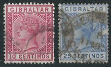 n088) Gibraltar. 1889/96. Used.  SG 23,26 Spanish Currency