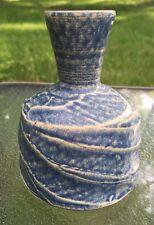 Signed Art Pottery Vase Unique Blue Vintage