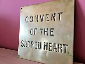 True Vintage SOLID BRASS Convent of the Sacred Heart nameplate sign house RARE