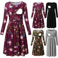Autumn New Women Pregnant Maternity Nursing Solid Floral Tunic Long Sleeve Dress