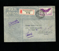 Switzerland 1939 Airmail to China via Hong Kong