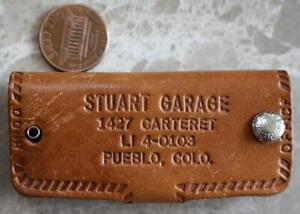 1950-60s Era Pueblo Colorado Stuart Garage leather keychain- 1427 Carteret Ave.!