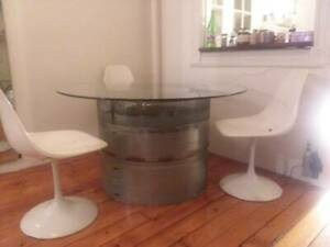 Post  Modern Metal & Glass Table