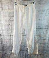 Tommy Bahama Womens Linen Pants Sz 6 White Mid Rise