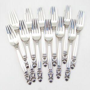 Acorn 12 Dinner Forks Set Georg Jensen Sterling Silver Mono S