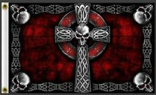 Large Celtic Cross With Skulls 3 X 5 Deluxe Biker Flag #368 new skulL rider 3X5