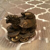 Vintage Brass Dragon Turtle Feng Shui Asian Good Luck