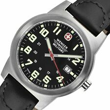 PRE-OWNED $175 Wenger Swiss Military Men's  Field Leather Military Watch 72925