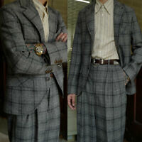Men's Gray Windowpane Formal Suits 2 Pieces British Wool Tuxedos Pleated Pant