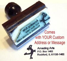 Ice Skater Rubber Stamp with Custom Address/Message