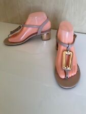 Giovanna Size 38 Nude & Gold Block Heel Thong Sandals T- Bar Shoes # A93