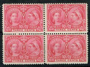 Canada 1897 Jubilee 3c Carmine SG126 Block of 4 Fresh Fine L/M/M Cat. £52.00++