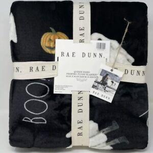 """Rae Dunn BOO Halloween Plush Throw Blanket Ghosts Pumpkins 50x70"""" 127x178cm NEW"""