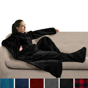 Snuggie Fleece Wearable Blanket With Sleeves and Foot Pocket Plush Microfiber