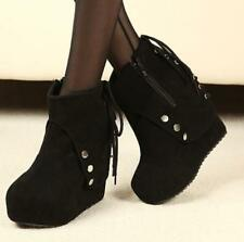 New Womens Wedge High  Heels Side Zip Round Toe Platform Ankle Boots Faux Suede