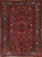 Antique RED Geometric Traditional Area Rug Hand-knotted Oriental Wool Carpet 6x8