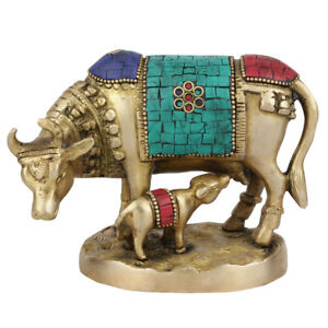 """Indian Hindu Holy Sacred Cow Calf Statue Temple Decor Lucky Gift Murti Inlay 4"""""""
