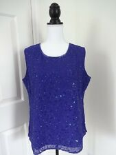 NOTATIONS CLOTHING CO. Womens Large Purple Sleeveless Beaded Lined Top INDIA