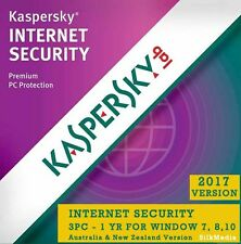 NEW Kaspersky Internet Security, 3 PC 1 Year For All Win  PC - License Key