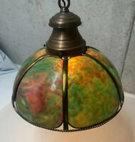 VINTAGE 1940s - 60s Slag Art GREEN Glass Electric Hanging Lamp Copper Chain