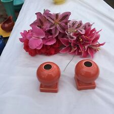 "FIESTA 2 NEW PERSIMMON orange round candlestick holders 3-5/8"" Fiestaware"