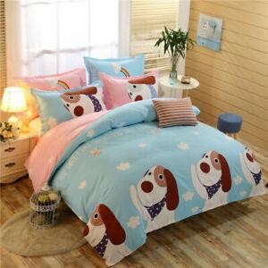 Cotton Blend Blue Cartoon Dog Bedding Set Pillowcases Quilt Duvet Cover 4PCS New
