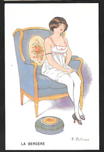 Early Artist Signed Postcard: Glamour Risque. F Fabiano - Le Bergere