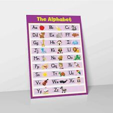 ALPHABET LEARN CHILDRENS REVISION POSTER WALL CHART ABC CHILDS PURPLE KIDS A-Z
