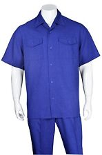 Men's 2pc Walking Suit Short Sleeve Casual Shirt & Pants Set M2961