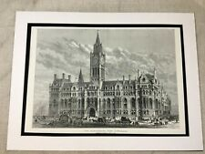 Antique Print Manchester Town Hall Opening Architectural 1877 LARGE Victorian