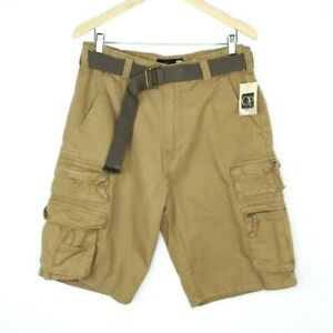 NEW OP Ocean Pacific Mens Size 34 Beige Cargo Shorts Flat Front Pockets Cotton