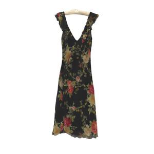 Blumarine Silk Floral Ruffle Dress Size 40 / US 2-4 EUC